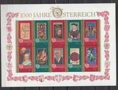 Austria Österreich 1996,10V In Sheet,1000 Jahre österreich,ancient Art,antieke Kunst,arte,,MNH/Postfris(L3107) - Verres & Vitraux
