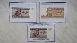 """Lot De 3 Billet """" Spécial Souvenir Of Myanmar Stamps ; Collés Sur Feuille - Myanmar"""