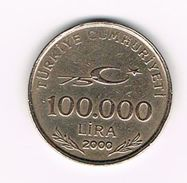 ) TURKIJE  100.000  LIRA   2000 - Turquie