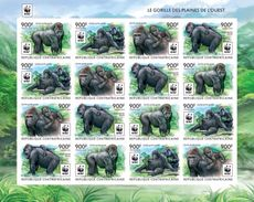 Centrafrica 2015, WWF, Gorillas, 18val In BF IMPERFORATED - W.W.F.