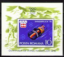 Romania 1976 Winter Olympic Games INNSBRUCK Sports Skiing Bobsleigh Skateboard Stamps MNH Scott 2602 Michel BLK128 - Skateboard