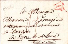 France LAC Précurseurs Paris 19/04/1821 Marque P Rouge.Taxe 4 Déc. Pour Onzain - Ecures Sur Loire L&C - Marcophilie (Lettres)