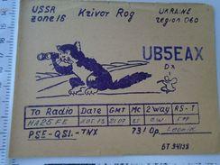 D151465  RADIO Amateur - UKRAINE URSS- KRIVOY ROG - Cat Mouse  Humour  1973 - QSL-Kaarten