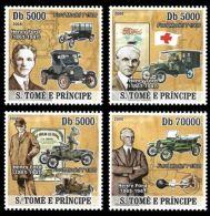 Sao Tome Henry Ford Cars Red Cross Ambulance 4v Set Michel:3292-3295 - Sao Tomé E Principe