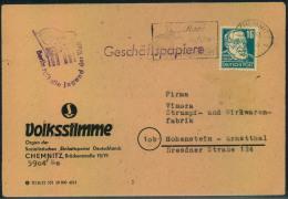 """1951, Propagandastempel""""""""Berlin Ruft Die Jugend Der Welt"""""""" Zu Den Weltfestspielen Auf Geschäftspapiere Ab CHEMNITZ - DDR"""