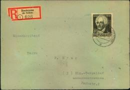 1950, 84 Pfg. Goethe Als Einzelfrankatur Auf Einschreiben Ab BESTENSSE (KR. TELTOW) Nach Westberlin. - Schriftsteller