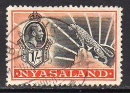 Nyasaland 1934-5 GV 1/- Value, Wmk. Multiple Script CA, Used, SG 122 (BA2) - Nyasaland (1907-1953)