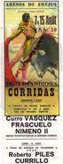 83 - FREJUS- AFFICHETTE ARENES -SIMON CASAS-7/15 AOUT 1970- CORRIDA -MIGUEL ZABALLOS-CURRO VASQUEZ-FRASCUELO-NIMENO II- - Afiches