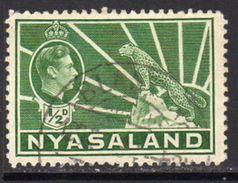 Nyasaland 1938-44 GVI Definitives ½d Green, Used, SG 130 (BA2) - Nyasaland (1907-1953)
