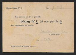 Carte D'un Prisonnier De Guerre-   Stalag IV C ( Et Non Plus IV B ) - WW II