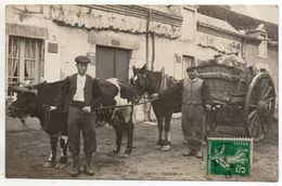 Carte Photo - Attelage Vache Et Cheval Tractant Du Bois - Située à Les AYDES ( Saran , Orléans , St Jean De La Ruelle ) - Orleans