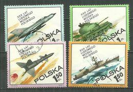POLAND Oblitéré 2115-2118 Armée Populaire Char De Combat Avion Navire Fusée Guerre - Oblitérés