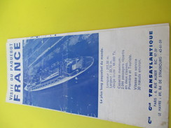"""Marine /Visite Du Paquebot """"FRANCE""""/ Cie Générale Transatlantique/Guide De Visite/Dépliant à 5 Volets/1963       MAR47 - Bateaux"""