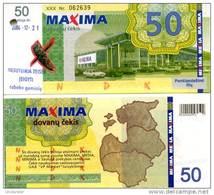 LITHUANIA 50 Litu Shopping Certificate (validity 2003-2004) **AU-UNC** (cancelation Puch Hole As On Image) - Lituanie