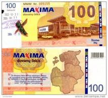 LITHUANIA 100 Litu Shopping Certificate (validity 2003-2004) **AU-UNC** (cancelation Puch Hole As On Image) - Lituanie