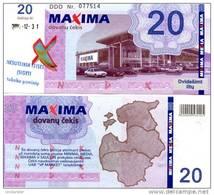 LITHUANIA 20 Litu Shopping Certificate (validity 2003-2004) **AU-UNC** (cancelation Puch Hole As On Image) - Lituanie