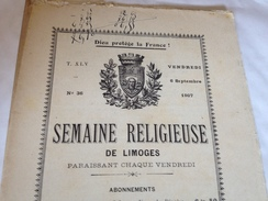 La Semaine Religieuse , LIMOGES, 6 Septembre 1907, Journal - Newspapers