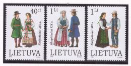 Lituanie 1996 - MNH ** - Costumes - Michel Nr. 610-612 Série Complète (ltu120) - Lithuania