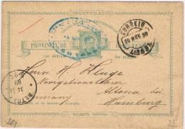 Cabo Verde, 1888, Bilhete Postal S. Vicente-Hamburg - Kapverdische Inseln