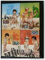 Carte Maximum Card (x4) échecs Chess Roumanie Romania Ref 72419 - Cartes-maximum (CM)