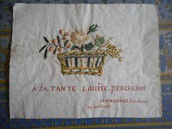 SUPERBE BRODERIE SUR PAPIER PANIER FLEURI A SA TANTE LOUISE PERCHERON Le 24 Aout 1821 HONORINE DE BELLEMARE - Vieux Papiers