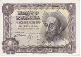 BILLETE DE ESPAÑA DE 1 PTA DEL AÑO 1951 SIN CIRCULAR EL QUIJOTE  SERIE N (UNCIRCULATED) - 1-2 Pesetas