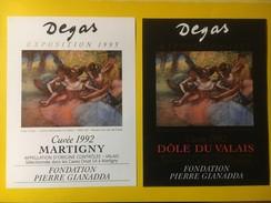 4318 - Exposition Degas 1993 Fondation Gianadda Martigny Suisse Fendant & Dôle 2 étiquettes - Art
