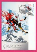 Carte Maximum - Hockey Sur Glace - Olympische Winterspiele Albertville 1992 - Liechtenstein H.J. ANDEREG - Vaduz - Winter 1992: Albertville
