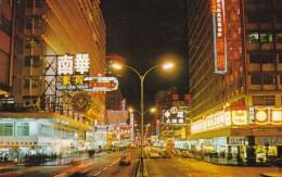 Hong Kong Nathan Road, Main Road To Kowloon, Night Time Street Scene C1960s Vintage Postcard - China (Hong Kong)