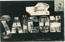 INDOCHINE CARTE POSTALE AVEC OBLITERATION SAIGON CENTRAL 30 MARS 11 COCHINCHINE POUR LA FRANCE - Postales