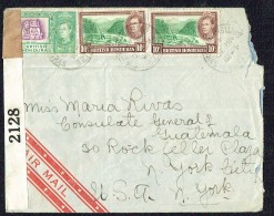 1942  Air Letter To USA  SG 150, 155 X2 US Censor Tape - British Honduras (...-1970)