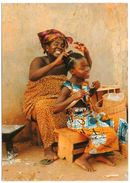 AFRIQUE EN COULEURS - HAIR-DRESSING AT THE VILLAGE / WITH CENTRAFRICA THEMATIC STAMPS-TELECOMMUNICATIONS/ONU - Repubblica Centroafricana