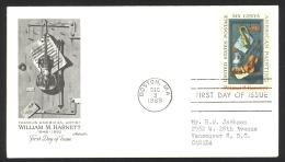 USA Sc# 1386 (Artmaster) FDC Single (a) (Boston, MA) 1969 12.3 William M. Harnett - First Day Covers (FDCs)