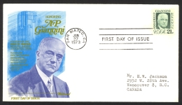 USA Sc# 1400 (Fleetwood) FDC Single (b) (San Mateo, CA) 1973 6.27 Amadeo Peter Giannini - First Day Covers (FDCs)