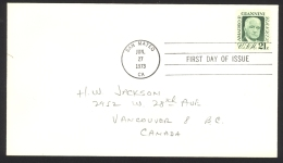 USA Sc# 1400 (no Cachet) FDC Single (c) (San Mateo, CA) 1973 6.27 Amadeo Peter Giannini - First Day Covers (FDCs)