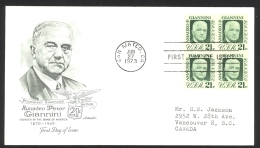 USA Sc# 1400 (Artmaster) FDC Block/4 (d) (San Mateo, CA) 1973 6.27 Amadeo Peter Giannini - First Day Covers (FDCs)