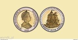 TRISTAN Da CUNHA Stoltenhoff Island 2008 25 Pence Bimetal Ship UNC - Sonstige Münzen
