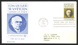 USA Sc# 1405 (Maxicover Cachet) FDC Single (e) (Petersburg, IL) 1970 8.22 Edgar Lee Masters - First Day Covers (FDCs)