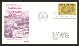 USA Sc# 1407 (Fleetwood) FDC Single (b) (Charleston, SC) 1970 9.12 South Carolina - Eerste Uitgaves (FDC)