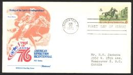 USA Sc# 1478 (Fleetwood) FDC Single (b) (Rochester, NY) 1973 6.22 Post Rider - Ersttagsbelege (FDC)