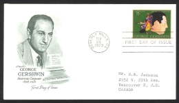 USA Sc# 1484 (Artmaster) FDC Single (a) (Beverly Hills, CA) 1973 2.28 George Gershwin - Ersttagsbelege (FDC)