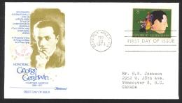 USA Sc# 1484 (Fleetwood) FDC Single (b) (Beverly Hills, CA) 1973 2.28 George Gershwin - Eerste Uitgaves (FDC)