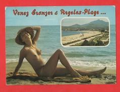 66 Pyrenees Orientales Argeles Femme Nue Nu Seins Nus Sur La Plage  (format 10,6 X 14,9) - Argeles Sur Mer