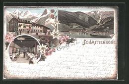 Vorläufer-Lithographie Zell Am See, 1895, Hotel Schmittenhöhe, Speisesaal, Partie Am See - Austria
