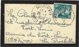 1950- Petite Env. De Deuil Affr. 8 F Merson  Oblit. Cad 1 Cercle Pointillé De SALLES S/ MER / CHARte MARme - 1921-1960: Modern Period
