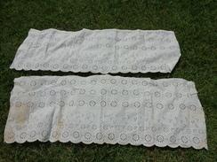 2 Pieces De Tissu -sublime-brodee Main -vintage-hat 43cmx120cm  Et  41x 120cm - Dentelles Et Tissus