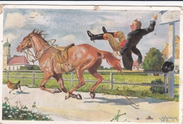 Feldpost WW1: Humours Postcard With A Man Falling Off A Horse From Infanterie Regiment 143 P/m 11.6.1917  (DD1-16) - Militaria