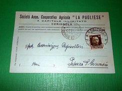 Cartolina Pubblicità - Cooperativa Agricola La Pugliese - Cerignola 1933 - Publicidad