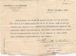 """2-PIROSCAFO""""EOLO""""26-3-1919 DICHIARAZIONE DEGLI ARMATORI (CHIARELLA&CARBONE-FIRMATA DAGLI STESSI)VEDI DESCRIZIONE - Barche"""