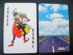 VINTAGE !! RARE !!  1 Pc. ANA Japan Airlines Playing Card Witch Joker  (#139) - Kartenspiele (traditionell)